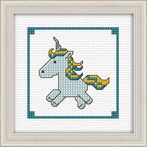 Unicorn Aqua Counted Cross Stitch Kit