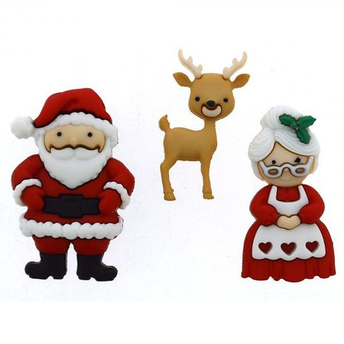 Mr and Mrs Claus Button Pack