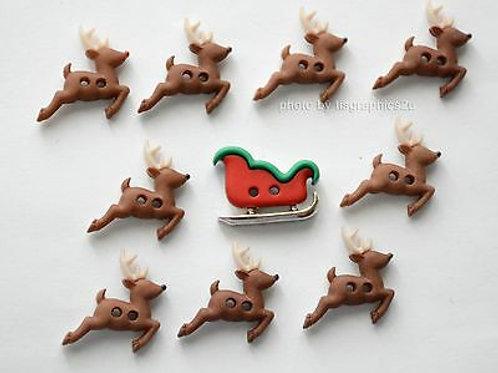 Sew Cute Sleigh/Reindeer Button Pack