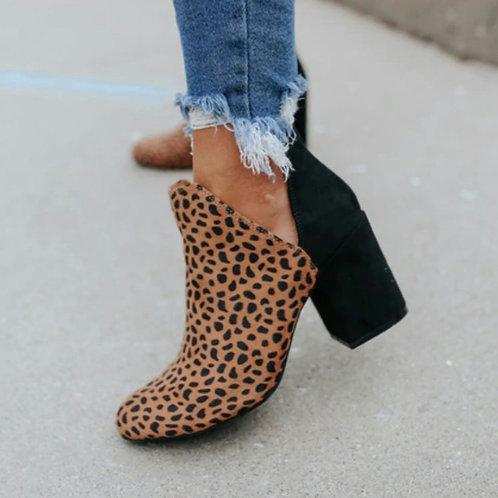 Leopard Side cut bootie