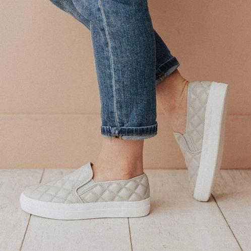 Pepper Platform wedge quilted sneakers Grey