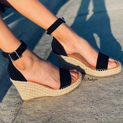 Natalie Black Espadrille Sandal