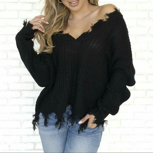 Raw Edge Black Sweatshirt
