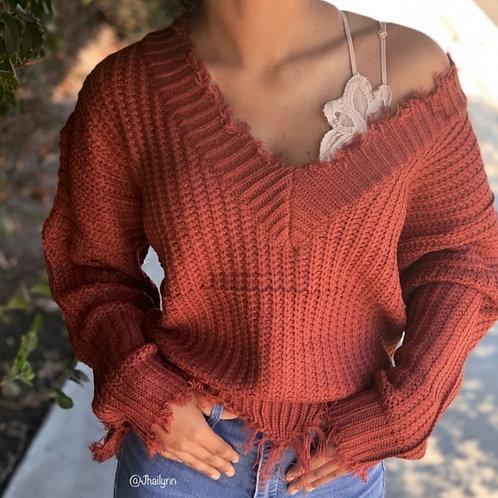 Raw Edge Rust sweater