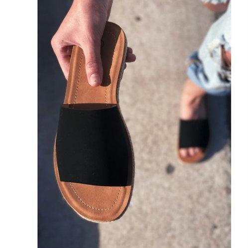 San Diego Black Slip on Espadrille sandal