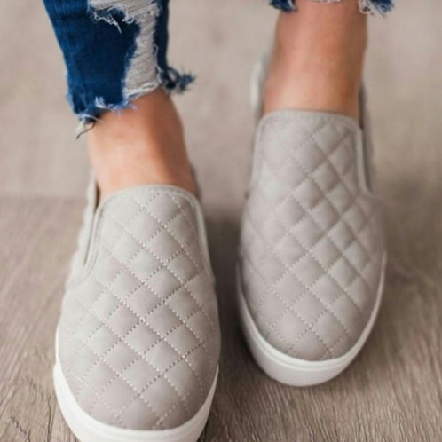 Grey Quilted Slip on Sneaker