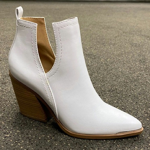 White Chunky Heel Ankle Bootie