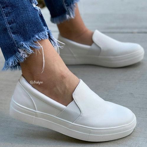 Walk This Way White Slip On