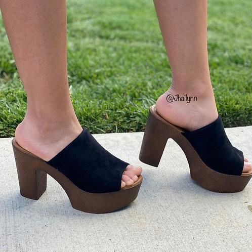 Jackie Black Peep Toe Clog Mule