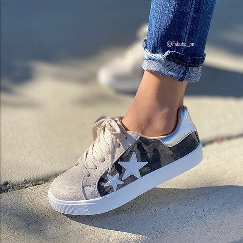 Camo Faux Suede Sneaker