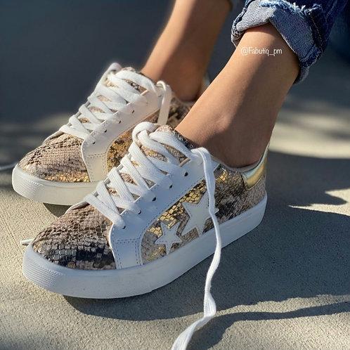 Gold Python sneaker