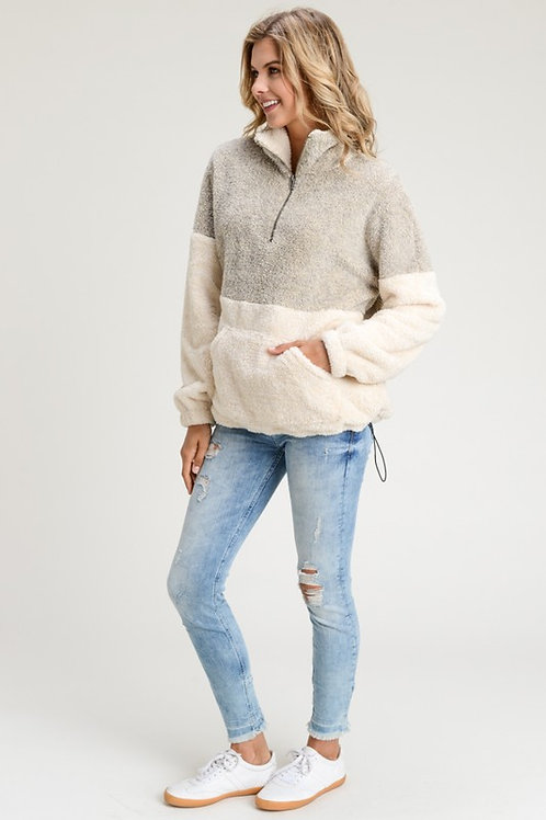 Sherpa two toned pullerover