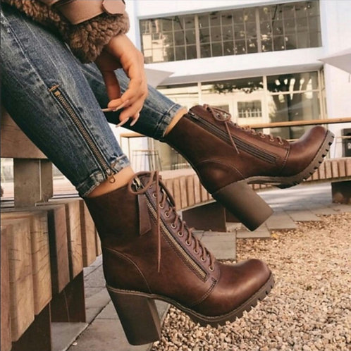 Alana Chocolate Combat boot