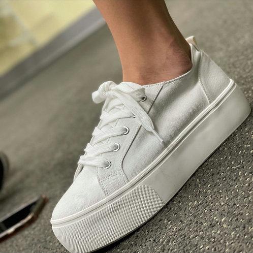 Hailey White Canvas Sneaker