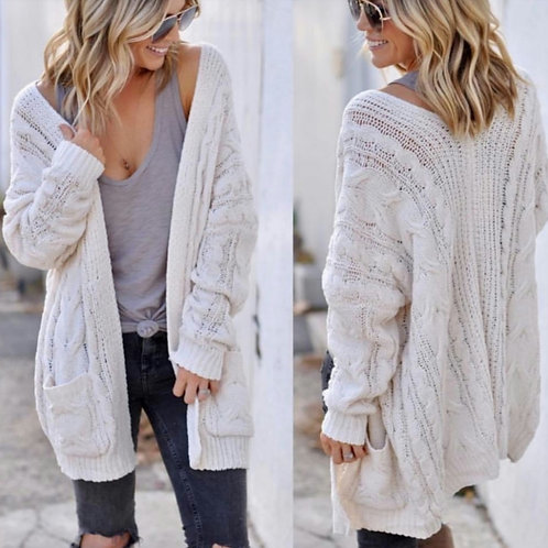 Ivory Chunky Knit Chenille Cardigan