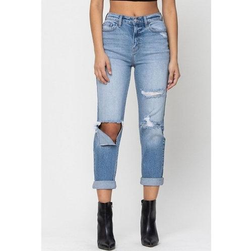 High Rise Cut Knee Hem Mom Jeans
