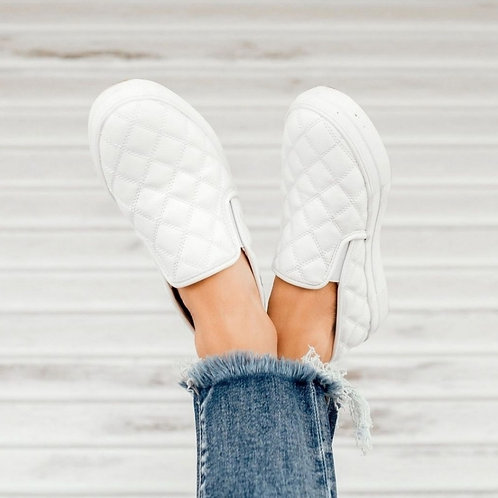 Pepper Platform wedge quilted sneakers White