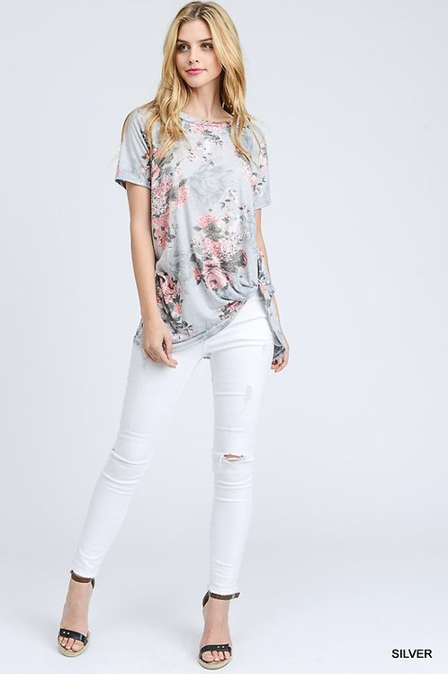 Knot Floral Print Top