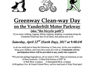 Greenway Clean-way Day-Saturday April 22nd (Earth Day) 9am