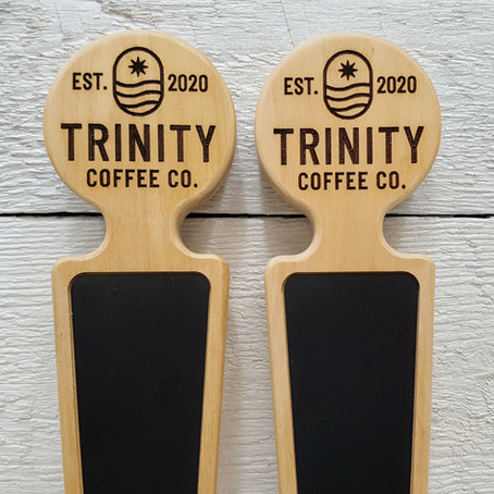 Coffee bar custom tap handles. Cherry wood with chalkboard