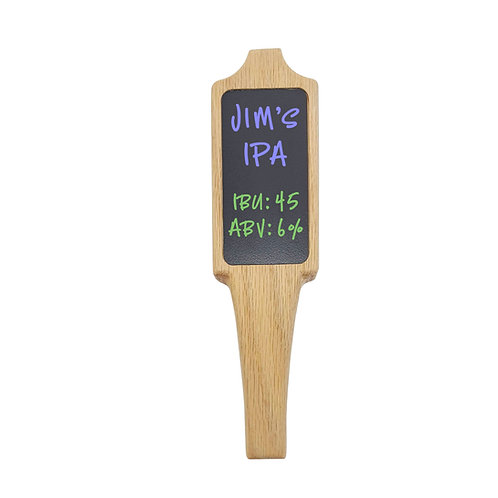 Chalkboard, white beer tap handle with 2x4 insert
