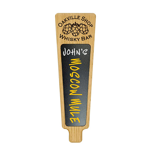 Custom engraved personalized beer tap handle with hop cone logo and marker board