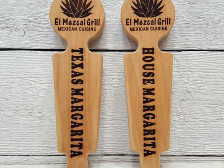 Custom cherry wood margarita tap handle for  Verde, Flavors of Mexico