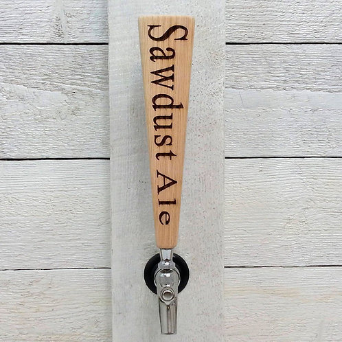 Personalized tapered beer tap handle oak. For tap room, bar, coffee shop