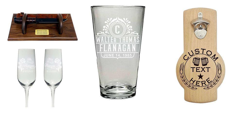 Beer pint glass personalized etched