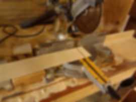 Cutting the end of the board with miter saw