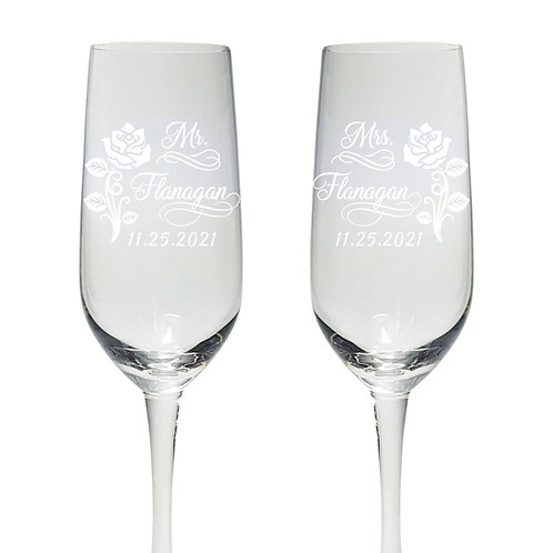 Personalized Champagne Flute Glasses Wedding Toast Gift,  Rose Design Etched