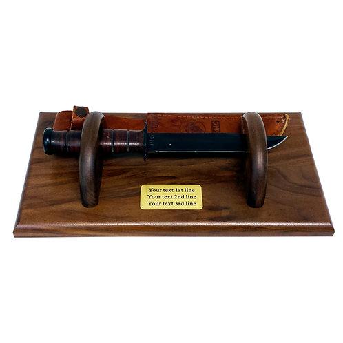 KA-BAR USMC knife holder solid Walnut wood custom text personalized.