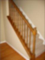 Old brown interior oak railing