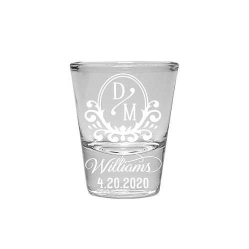 Personalized Wedding Shot Glasses with Vintage Design, Set of Two Shot Glasses