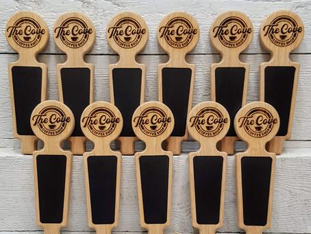 Beautiful coffee shop tap handles