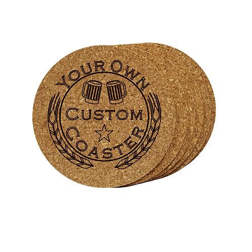Cork coaster set personalized custom engraved logo. Great gift.