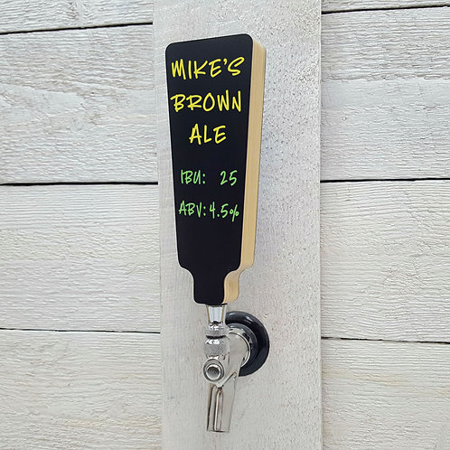 Beer Tap Handle with Black Dry-erase Chalkboard Marker Board, pine wood