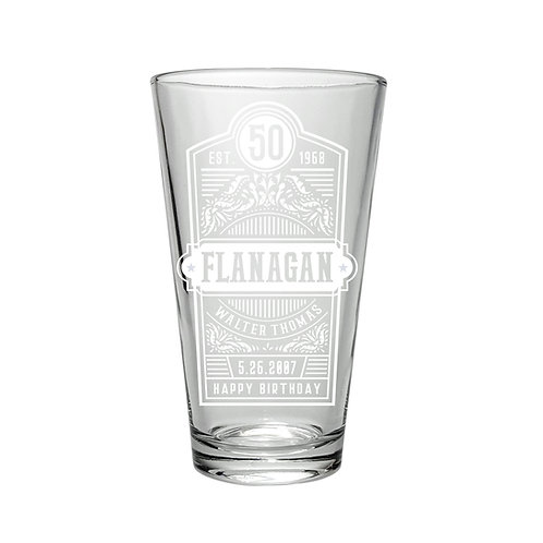 Personalized beer pint 2x glasses with retro vintage logo, set of two