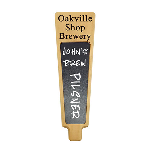 Custom engraved personalized Cherry wood beer tap handle with marker board