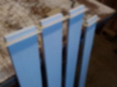 Painted wooden railing parts