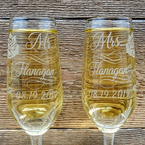 Champagne flute glasses personalized wedding gift 2 glasses set