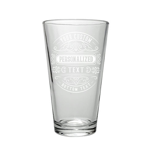 Personalized Beer Pint 2x Glasses with Vintage Logo Design, set of two