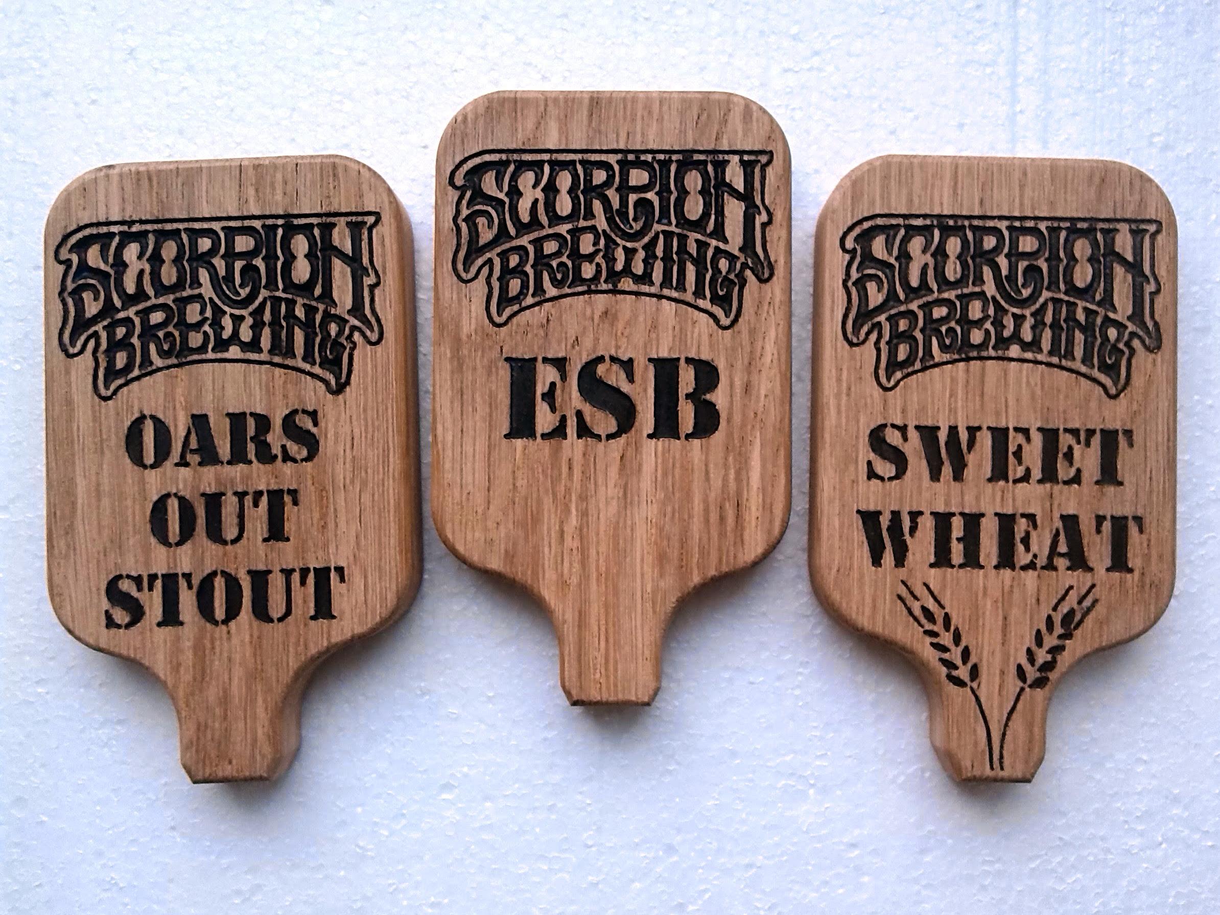 Oak wood beer tap handle for brewery