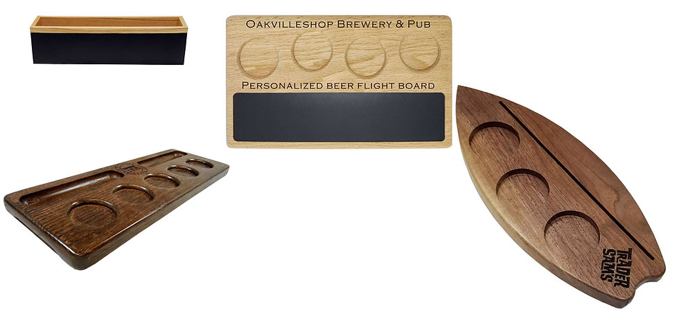 Beer flight board paddle with chalkboard