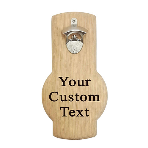 Personalized custom engraved wall mounted beer bottle opener. Great gift.