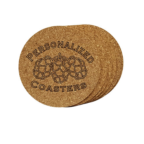 Cork coaster set personalized with custom engraved text hop logo. Great gift