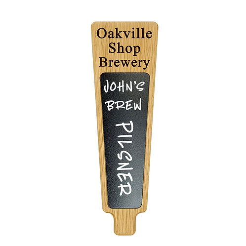 Custom engraved personalized beer tap handle with chalkboard marker board insert