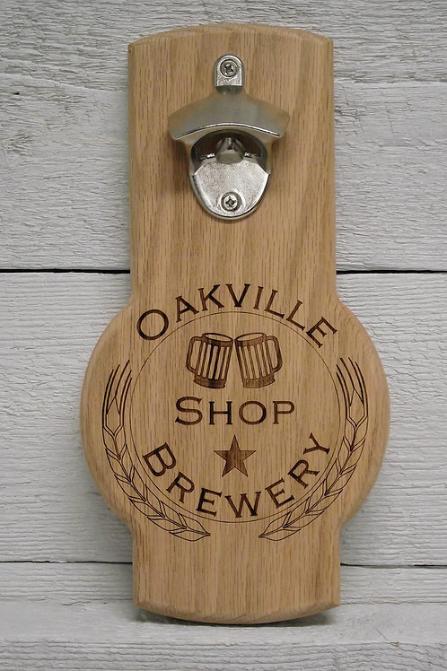 Personalized logo engraved wall mounted beer bottle opener. Great gift