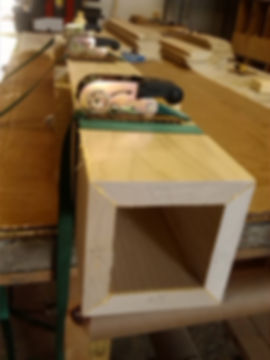 Boxed railing newel boards clamped together
