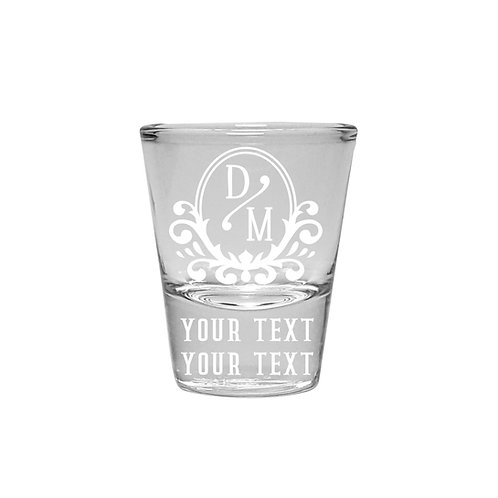Personalized Shot Glasses with Vintage Design, Set of Two Shot Glasses